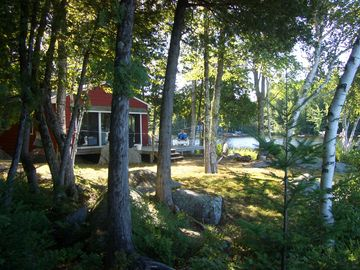 Front of cottage w/sunny deck,chairs,grill,shaded hammock in the trees,fire pit.