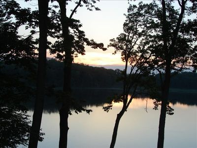 Sunsets from Lodge House deck are postcard-pretty..very private, serene setting.