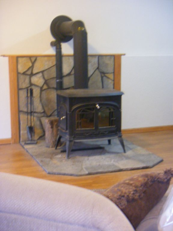 Wood burning stove on lower level