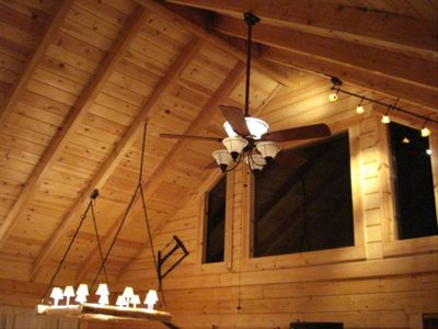 Gable windows and romantic track lighting. Bear Cliff