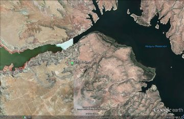 See the green dot? We're a 10 minute walk to the shore's edge of Abiquiu Lake