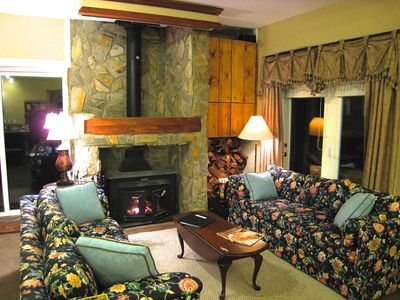 Beech Mountain lodge rental - Mountain Lodge Realty Beech Mountain Lodge Living Room with Wood Burning Stove