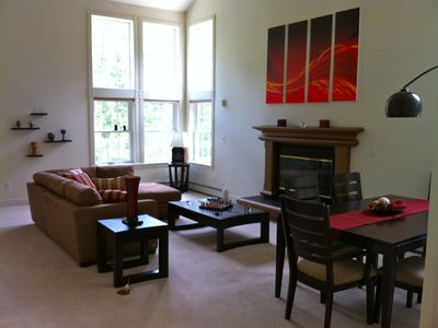 Boulder house rental - Large windows and fireplace.