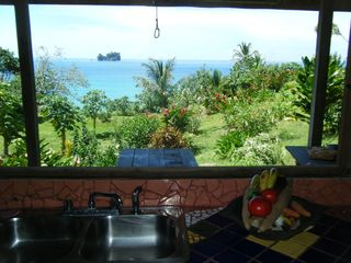 Bocas del Toro cabin photo - looking out over kitchen sink in the main cabin