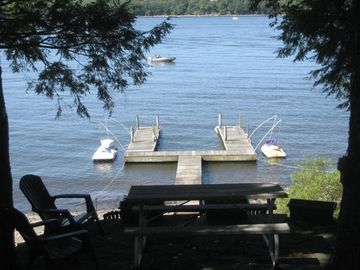 Lake Wallenpaupack house rental - Picnic on our patio just feet from the lake