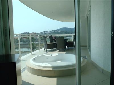 Jacuzzi Tub Outside Master Bedroom on Private Balcony