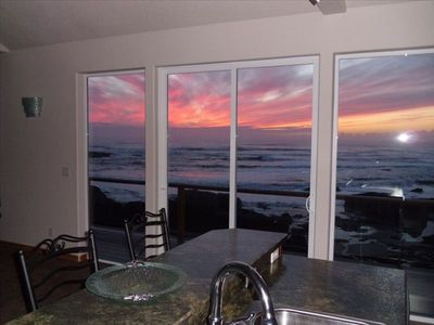 Kitchen View at Sunset