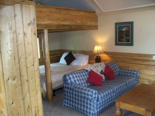 Estes Park cabin photo - Queen bed and Queen sleeping loft above in small cabin