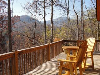 Lake Lure cabin photo - View of mountains from wraparound deck.