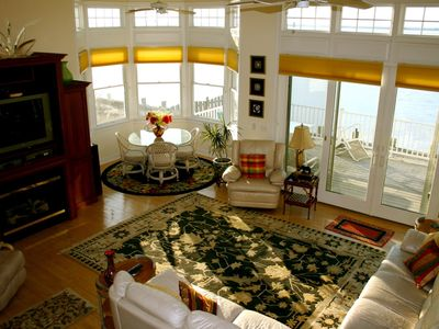 birdseye view of living room and sunroom