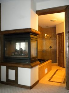 Master Suite Bathroom downstairs - Fireplace and jetted tub