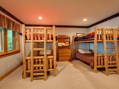 Lower level twin bunks with awesome lake views