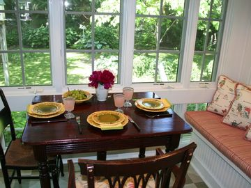 Enjoy meals overlooking English gardens.