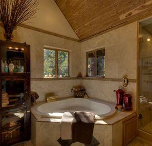 Luxurious master bath with spa bath and steam shower