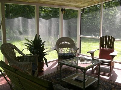 Wonderful screened porch with wooded views