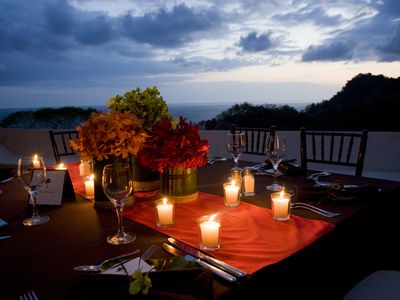 Dine under the stars with a moon-lit sea and the sound of the waves crashing.
