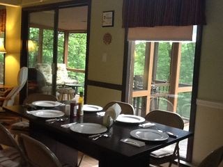 Bushkill house photo - Dining Table Opens Up Next to Kitchen.