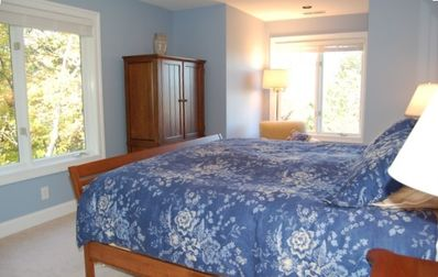 Main Level Blue Queen Bedroom with Ensuite Bath, TV/DVD and Mountain Views