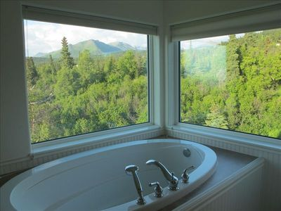 Views from tub with shades pulled.