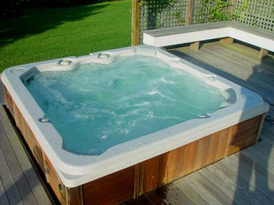 Edgartown house rental - 6 Person Hot tub on private deck off Master Bedroom of Guest House