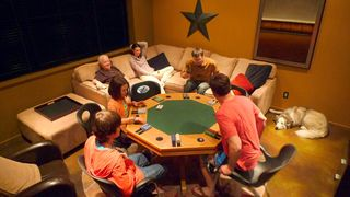 Big White house photo - Hey, aren't those kids too young to play poker? And whose dog is that anyway?