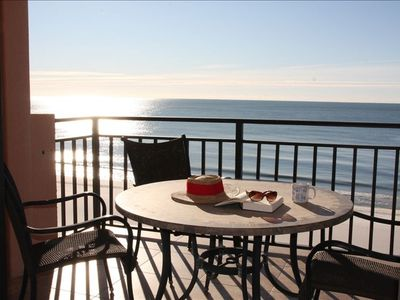 Enjoy coffee on the morning balcony overlooking the beach!  We are on the beach!