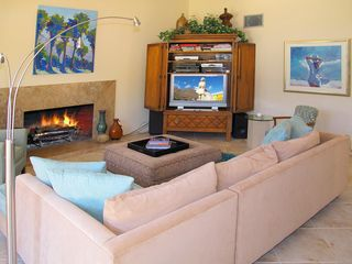 Indian Wells house photo - Living area with gas fireplace and flat screen t.v., sound system.