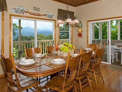 Gatlinburg chalet rental - Dining W/Beautiful Mountain Views, Open Floor Plan to Kitchen & Living