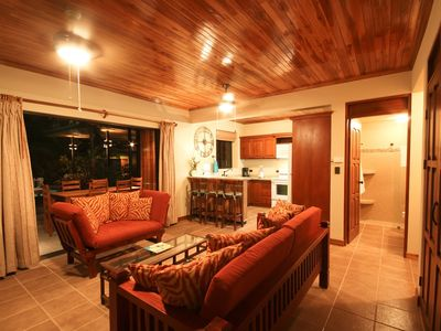 teak ceilings, fans, full bath, kitchen, daybed, futon, sliding doors in wall