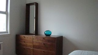 Queens apartment photo - Walnut dresser and oak mirror