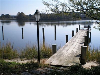 Oak Creek, Private Dock with power and water, bench seating, sandy beach area