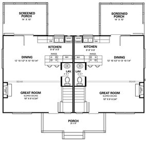 Level 1 floorplan. Our unit is on the right.