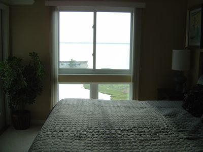Master bedroom window view of direct water view