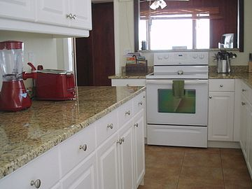 Kitchen was updated in 2010. This view faces the dining room.