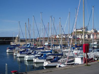 Findochty cottage rental - Stunning View over Marina from Patio