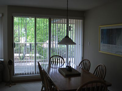 Dining area with doors to the deck area