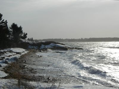 Friendship cottage rental - The beach in a winter storm