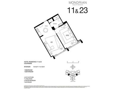 South Beach hotel rental - Floorplan - 750 Sq Ft. -70,2 M2