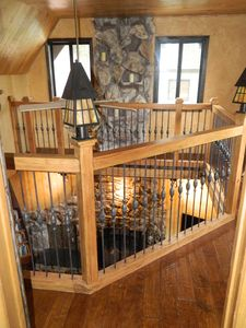 "Lake Arrowhead cabin rental - the ""lookout"" over main living room. perfect place to read a book!"