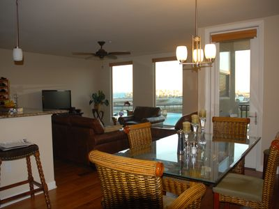 Oceanside condo rental - Living Room and Dining Area with Views