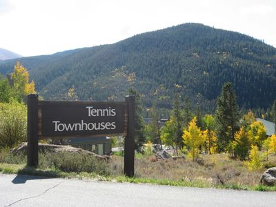 Signage as you approach Tennis Townhomes