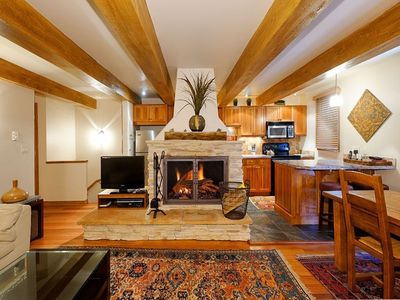Kitchen and Wood burning fireplace