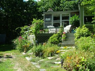 Cape Elizabeth cottage photo - Front porch overlooking garden & ponds