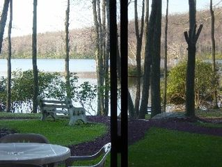 Lake Harmony condo photo - See through backyard from LR window