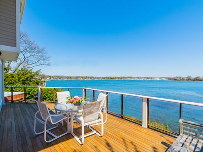 Wrap around mahogany decks to enjoy family and friends at the coastal home