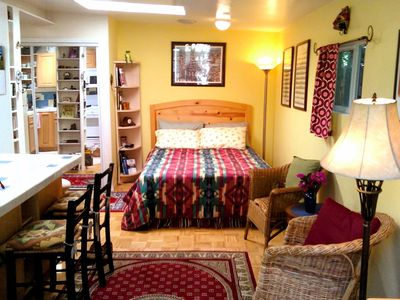 Santa Monica cottage rental - The Cottage's queen-size bed with Tempurpedic mattress & plenty of closet space