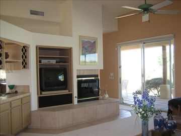 Great room with gas fireplace and wet bar