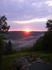 Masthope chalet photo - Early morning sunrise over the Catskill mountains and Delaware river-beautiful!!