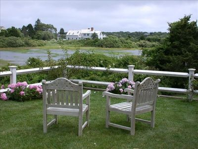 Chatham house rental - Upper lawn deck at high tide
