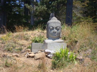 Buddha sculpture on the land